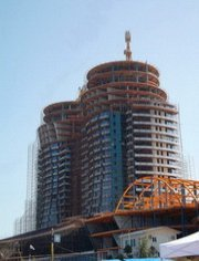 Curtain wall installation on new tower